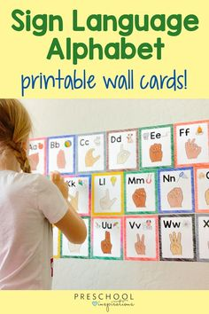 Printable alphabet posters with ASL signs for each letter! We also include a ton of ideas how to use these in the home or classroom. Great for alphabet and literacy practice. There's even a free printable ASL poster!