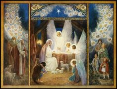 Margaret Tarrant - 'The Star of Bethlehem' A nativity themed Christmas card The Dayspring from on high hath visited us. Religious Images, Religious Art, Vintage Christmas Cards, Christmas Images, Star Of Bethlehem, O Holy Night, Christmas Nativity, Christmas Jesus, Christmas Eve
