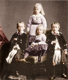 Queen Victoria's Schleswig-Holstein grandchildren, Prince Christian Victor, Princess Helena Victoria, and Prince Albert in front.  Princess Marie Louise standing in back.  Of these grandchildren only one, Prince Albert, had children, but his daughter was illegitimate and placed with a foster family soon after birth, effectively ending Helena's branch of Queen Victoria's family tree.