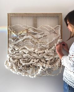 Crossing Threads, Handwoven fibre art by sisters Lauren and Kassandra Hernandez. Handwoven, woven wall hanging, weaving, tissage, tapestry