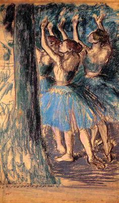 Group of Dancers, Tree Décor by @edgar_degas #impressionism