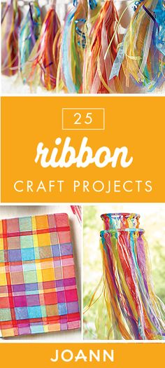 These 25 Ribbon Craft Projects from JOANN range from outdoor mobiles and gift-wrapping ideas to garland and woven journals. If you& looking for a fun and creative activity for summer, this collection is a great place to start. Craft Projects For Kids, Crafts For Girls, Arts And Crafts Projects, Diy Projects, Craft Ideas, Decor Ideas, Easy Diy Crafts, Crafts To Make, Fun Crafts