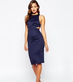 871875e902fd ASOS PETITE Cutout Strappy Back Bodycon Dress - Beige Navy Blue Cocktail  Dress