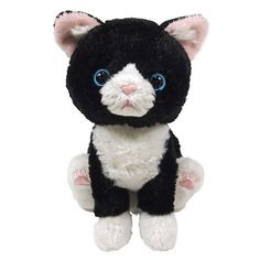 "Almost as good as a real kitty, this cute and fluffy cat plushie can sit, stand or lie down, but makes for an excellent cuddle partner too!  Hachiware is a lovely black and white cat with pretty pink paw pads and measures approx. 3.9"" x 5.1"" x 6.5""."