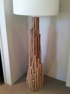 Drift wood nailed together to make lamp stand