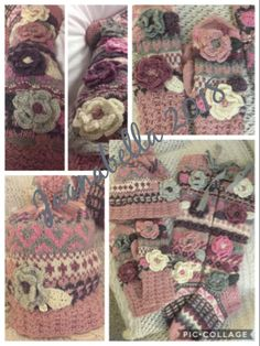 Kukkasukat,-pipo ja -lapaset/Flowersocks,beanie and mittens Burlap Wreath, Mittens, Straw Bag, Beanie, Wreaths, Handmade, Bags, Home Decor, Fingerless Mitts