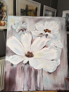 Abstract Flowers, Watercolor Flowers, Watercolor Paintings, Simple Oil Painting, Arte Floral, Easy Paintings, Acrylic Art, Flower Art, Magnolias
