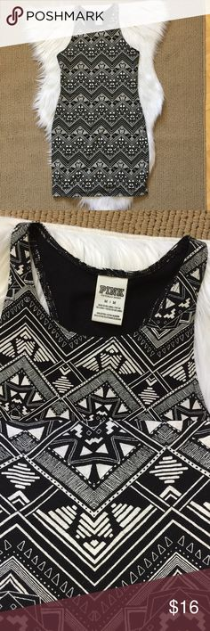 "PINK Victorias Secret Tribal Racerback Dress Loungewear, nightgown, or dress in a black and cream aztec tribal print. ▪️Size M (runs small!) ▪️94% cotton 6% elastane, lightweight, t-shirt dress material. ▪️14"" armpit to armpit unstretched and 32"" shoulder to hem. In great condition! PINK Dresses Mini"