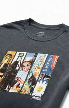 Add Coca-Cola's iconic branding to your style this season with the Windows T-Shirt. It features a classic tee construction with a mixed panels graphic on the front. Graphic Tee Outfits, Crop Top Outfits, Graphic Shirts, Printed Shirts, Tween Trendy Clothes, Trendy Outfits, Aesthetic T Shirts, Aesthetic Clothes, Work Shirts