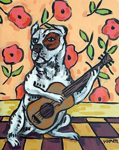 Pit Bull Terrier playing guitar 11 oz dog art Mug cup