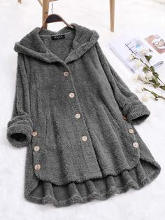 Plus Size Pure Color Hooded Fleece Coats with Button For Women - Schnittmuster Plus Size Fashion, High Fashion, Womens Fashion, Coats For Women, Clothes For Women, Long Overcoat, Plus Size Coats, Looks Chic, Mantel