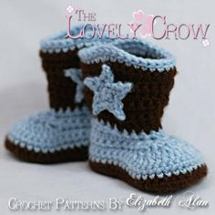 #CrochetingPattern - These crocheted baby cowboy boots are adorable! Say yee-haw and click the image to get the pattern! #crocheting #babybooties