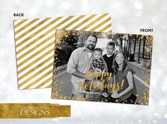 Photo Gold Glitter Christmas Card – Holiday Photo Card – Happy Holidays Photo Card – Photo Card – Family Photo – Gold Glitter Card 1 photo printable gold glitter Christmas card. The glitter details are simulated in the digital design. Back includes same gold design with white stripes for a festive look.  Print it yourself or take it to a local printer. We also offer printing services if you are interested. Please send a message to get a quote.