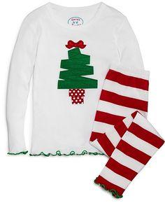 Sara's Prints Girls' Christmas Tree Pajama Set - Sizes 2-7 Cute Christmas Pajamas, Christmas Sweaters, Applique, Girls Shopping, Pajama Set, Infant, Size 2, Christmas Tree, Fabric