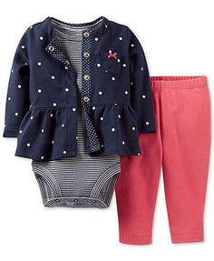 Carter's Baby Girls' 3-Piece Polka Dot Cardigan Set