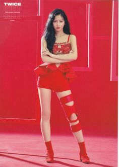 Twicelights in Japan Red postcard - Momo Kpop Girl Groups, Korean Girl Groups, Kpop Girls, Momo Hot, Girl Fashion, Fashion Outfits, Hirai Momo, Red Aesthetic, Stage Outfits