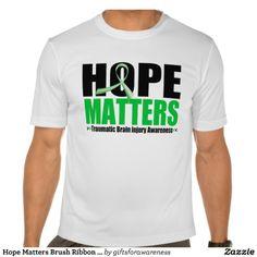 Hope Matters Brush Ribbon Traumatic Brain Injury Tee Shirt by www.giftsforawareness.com  #traumaticbraininjury #tbi #awareness