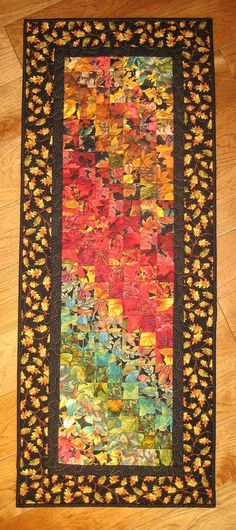 Autumn Art Quilt Fabric Wall Hanging Fall Leaves Handmade