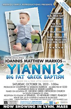 Movie Poster Styled Baptism Announcement. #greek #baptism #christening #boy