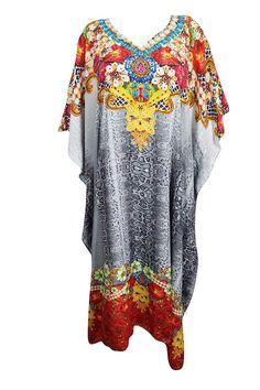 b5d876f8851f Mogul Interior Womens Kaftan Dress Beach Cover Up Floral Hawaiian Luau  Party Dress Caftan 3XL Gray