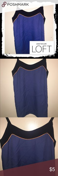 Ann Taylor Loft blue tank Size XS blue tank top with black at neckline in excellent condition LOFT Tops