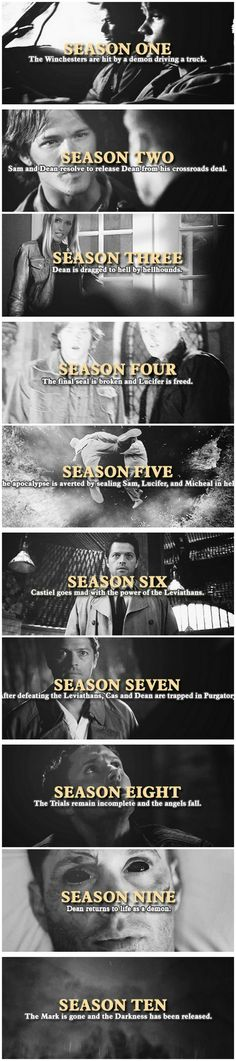 Season 11: Amara and God go for a brother-sister bonding trip, and Mary dropkicks Dean. Season 12: Mary and Lucifer are trapped in a different universe, Dean cries over Castiel's corpse, and Sam finds Jack fully grown.