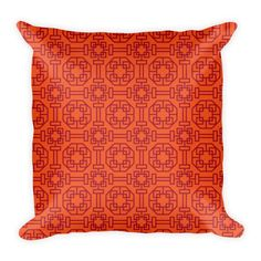 CHINESE GEOMETRIC PATTERN (ORANGE, RED) PILLOW