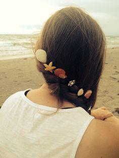 Shell hair bobby pins on Etsy, $5.00