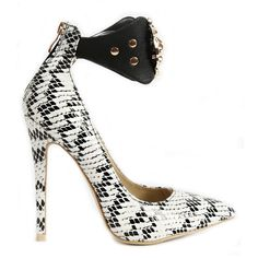 QUEEN OF THE THRONE Snake Pump in Black White available at FLYJANE