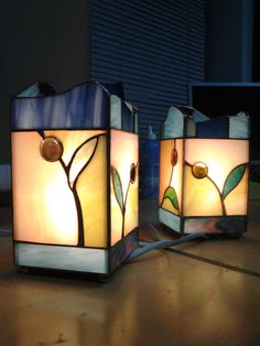 Stained glass lamp . Tiffany technique . by Lvivdecor on Etsy