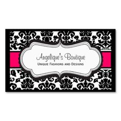 Teal coral orange retro floral damask business card template elegant black white pink damask business cards reheart Gallery