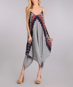 Loving this Navy Scarf-Print Maxi Dress on #zulily! #zulilyfinds