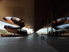 Cantine Antinori, Siena - by Archea Associati Art Et Architecture, Contemporary Architecture, Amazing Architecture, Architecture Details, Atrium, House Of Beauty, Spa Design, Corten Steel, Stair Railing