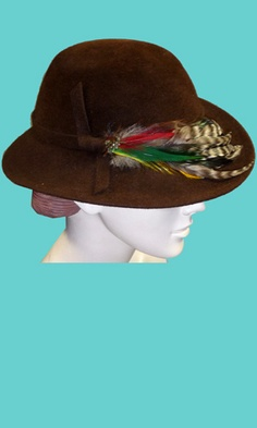"I MAGNIN - 1940s velour fur felt ---  VINTAGE 1940s Genuine Velour Betmar 100% fur felt brown hat with pheasant feathers in excellent condition! 21"" in circumference."