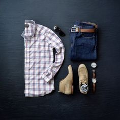 Men's Classic Style by Jachs NY, Plaid, Denim, Chukka Boots, Watch, Sunglasses #menstyle #denim #boots