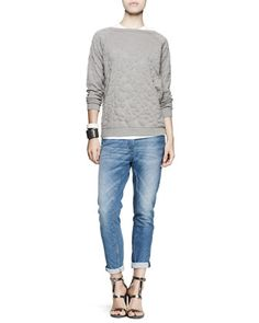 Flower-Embossed Pullover, Short-Sleeve Tee, Bias-Cut Jeans & Leather Cuff Bracelets by Brunello Cucinelli at Neiman Marcus.