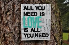 """8x10  """"All you need is LOVE...""""  vintage sheet music canvas"""