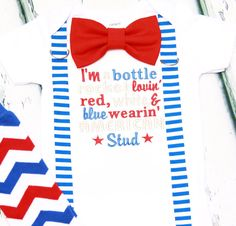 Baby boy first fourth of July American stud onesie with matching blue striped suspenders red bow tie, Baby boy first July 4th bodysuit by LoveAndLollipopsBaby on Etsy