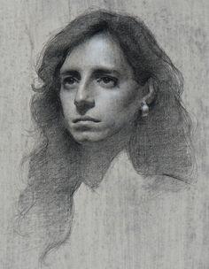 Amaya Gurpide, graphite, chalk, gouache on paper {beautiful female head blonde woman face portrait drawing #loveart} amayagurpide.com
