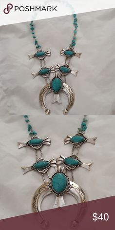 Jewelry Turquoise stones with Silver Necklace . Adjustable . Beautiful Statement Piece. Torn between selling it or keeping Free People Jewelry Necklaces