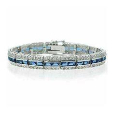 ParisJewelry 10 Carat Tanzanite and Diamond Tennis Bracelet