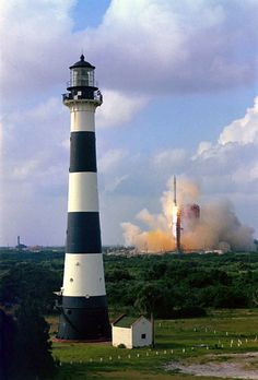 Cape Canaveral Light, Florida. We could go out on the beach at Ponte Vedra & see the the space shuttles go up. At night it looked like a bonfire on the beach.