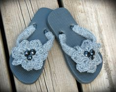 Gray Crocheted Flip Flops!
