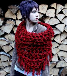 The Fringe Cowl scarf brown red ridding hood by BessetteArt, $39.00