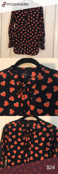 MATERNITY GAP Heart Print Top Slightly worn Like new Button up detail Tie back Neck bow tie Red & navy blue GAP Tops Blouses