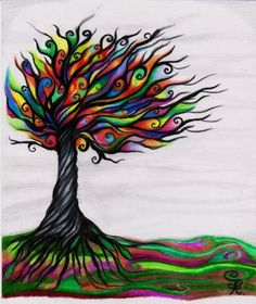 A Tree of Life should have roots I think! But not a tangled mess of roots! These ones look a bit sharp. Like the suggestion of paths beyond the tree. Tree Of Life Art, Tree Art, Life Tattoos, Star Tattoos, Bunt, Illustration, Pretty Pictures, Cool Art, Art Projects