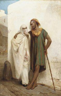 Algérie - Peintre Français   Hippolyte Lazerges(1817-1887), Huile sur toile 1873 , Titre : Un Rendez-Vous dans une ruelle