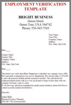 employment verification form sample