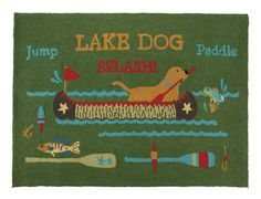 Green Lake Dog Cabin Wool Rug