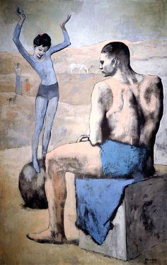Young-Acrobat-on-a-ball-By-Pablo-Picasso. 147 x 95 cms. La Acróbata de la Bola, 1905, . Sucesión Pablo Picasso